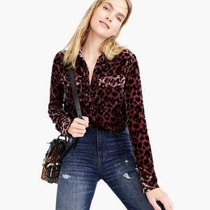 J. Crew | Petite Shirt in Drapey Velvet Leopard